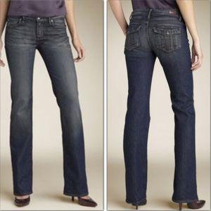 28 Paige Cloverdale Blue Mid Rise Bootcut Jeans